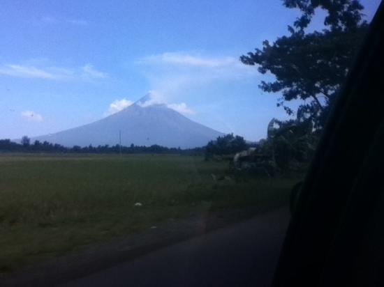 view of Mt. Mayon from the car