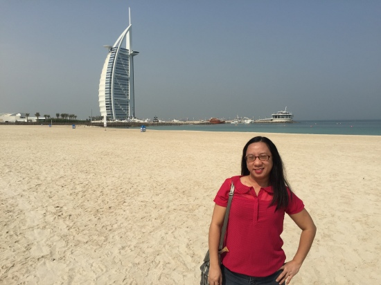Weena with Burj Al Arab in background