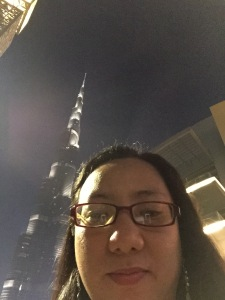 Weena with Burj Khalifa at night