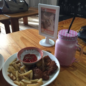 pink cappuccino frappe, fish & fries at Miao Cat Cafe